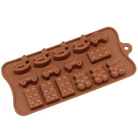 Freshware 15-cavity Silicone Toy, Car, Block and Bear Chocolate, Candy and Gummy Mold