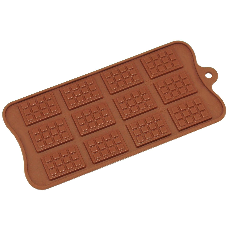 Freshware 12-cavity Silicone Mini Rectangle Waffle Chocol...