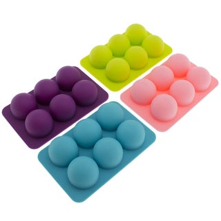 Freshware Silicone 6-cavity Round Chocolate Truffle, Candy and Gummy Mold (Pack of 4)