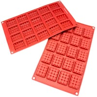 Freshware 20-cavity Silicone Mini Rectangle Waffle, Cookie, Chocolate, Candy and Gummy Mold (Pack of 2)