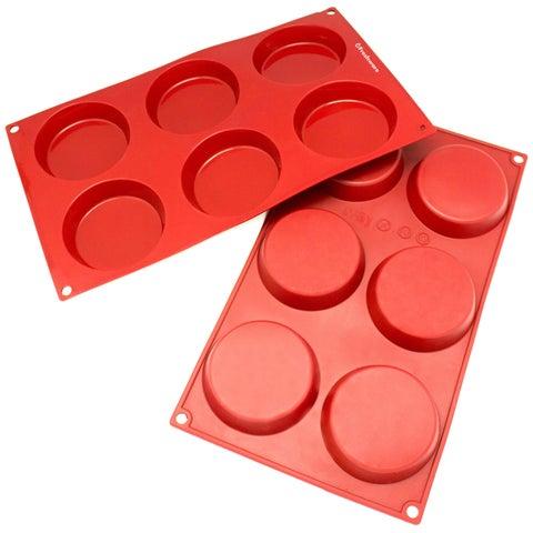 Freshware 6-cavity Silicone Mini Disc Cake, Pie, Custard, Tart and Resin Coaster Mold (Set of 2)