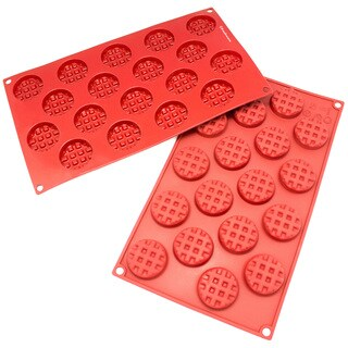 Freshware 18-cavity Silicone Mini Round Waffle, Cookie, Chocolate, Candy and Gummy Mold (Pack of 2)