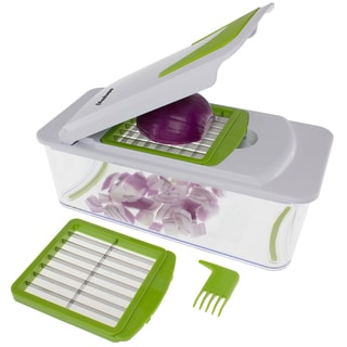 Freshware 7-in-1 Onion, Vegetable, Fruit and Cheese Chopper with Mandoline Slicer and Storage Lid