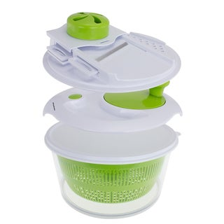 Freshware 9-in-1 Salad Spinner Set with Mandoline Slicer and Storage Lid (Option: Green)