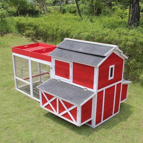 Merry Products Wooden Red Barn Chicken Coop