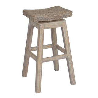 East At Main's Prairie Rustic Off-white Wooden Barstool