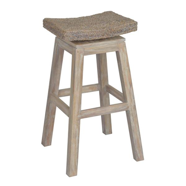 prairie rustic off white wooden barstool free shipping today 17569183. Black Bedroom Furniture Sets. Home Design Ideas