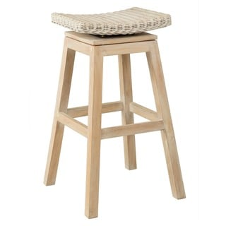 Safavieh Rayna White Washed Rattan 27 6 Inch Stool