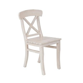 Helix Traditional Distressed Off-White Accent Dining Chair
