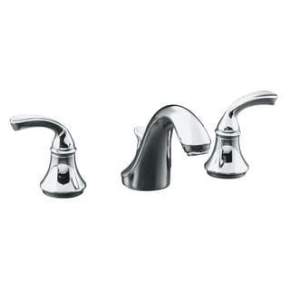 Kohler Forte 8 inch Widespread 2-handle Low-arc Bathroom Faucet in Polished Chrome w/ Plastic Drain