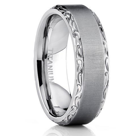Oliveti Titanium Hand-engraved Wedding Comfort-fit Band