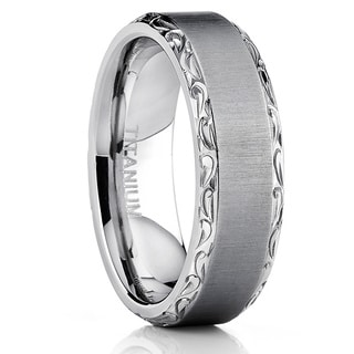 Oliveti Titanium Hand-engraved Wedding Comfort-fit Band
