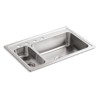 Kohler Toccata Self-rimming Stainless Steel 33x22x7.6875 4-hole Double Bowl Kitchen Sink