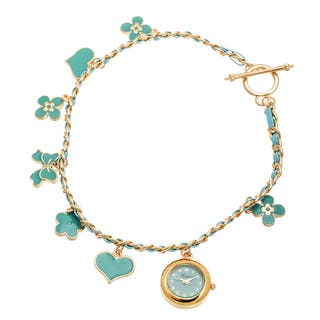 Fortune NYC Women's Gold Case / Turqouise Flower & Heart Chain Wrap Watch|https://ak1.ostkcdn.com/images/products/10480458/P17569341.jpg?impolicy=medium