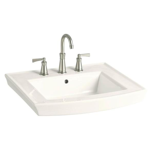Kohler Archer 8 Inch Pedestal Sink Basin In Biscuit Free