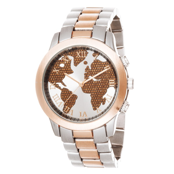 Fortune NYC Boyfriend Rose Case Globe Map Dial / Silver & Rose Strap Watch