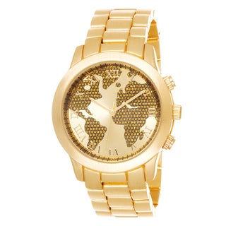 Fortune NYC Boyfriend Gold Case Globe Map Dial / Gold Strap Watch