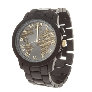 Fortune NYC Boyfriend Black Case Globe Map Dial / Black Strap World Watch