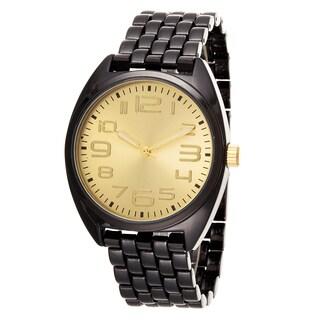 Fortune NYC Boyfriend Gun Metal Case & Gold Dial / Gun Metal Strap Watch