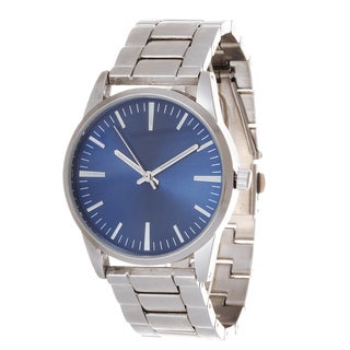Fortune NYC Men's Silver Case & Blue Dial / Silver Strap Watch