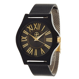 Fortune NYC Women's Goldtone Case / Black Strap Watch