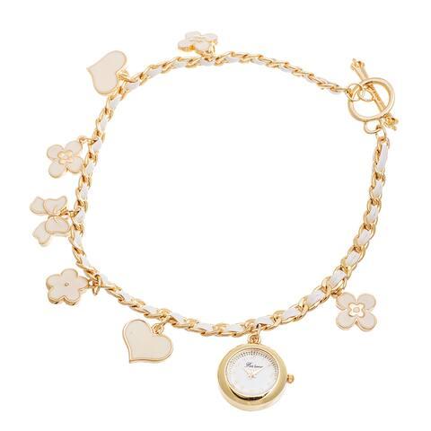 Fortune NYC Women's Gold Case / White Flower & Heart Chain Wrap Watch