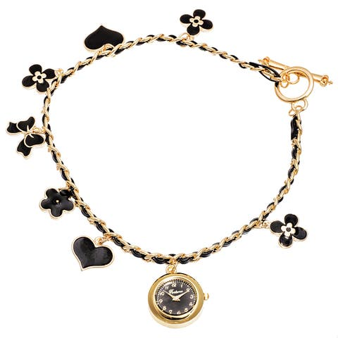 Fortune NYC Women's Gold Case /Black Flower & Heart Chain Wrap Watch