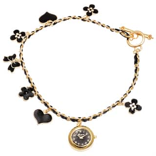 Fortune NYC Women's Gold Case /Black Flower & Heart Chain Wrap Watch|https://ak1.ostkcdn.com/images/products/10480521/P17569383.jpg?impolicy=medium