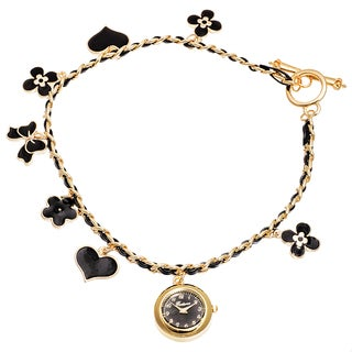 Fortune NYC Women's Gold Case /Black Flower & Heart Chain Wrap Watch