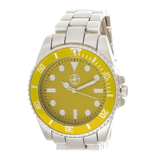 Fortune NYC Boyfriend Yellow Case / Silver Strap Watch