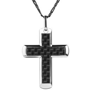 Men's Stainless Steel Black Carbon Fiber Cros