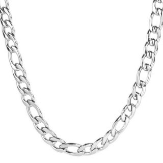 Crucible Men's Stainless Steel Polished 9 mm Figaro Chain Necklace