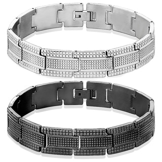 Men's Stainless Steel High Polish Dot Textured Bracelet