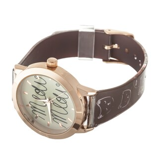 "FORTUNE NYC Women's Rose Case ""MEOW"" Dial / Brown Rubber Strap Cat Watch"
