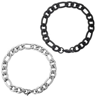 Men's Stainless Steel Brushed Finish Figaro Chain Bracelet