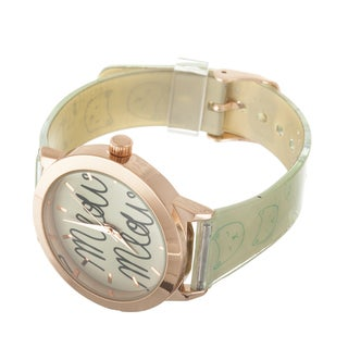 "FORTUNE NYC Women's Rose Case ""MEOW"" Dial / Beige Rubber Strap Cat Watch"