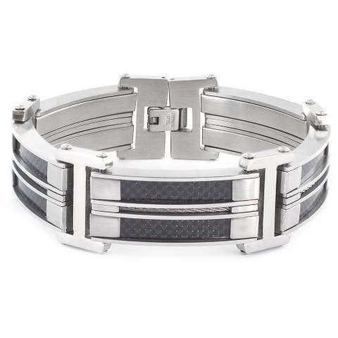 Crucible Stainless Steel Carbon Fiber and Cable Inlay Link Bracelet - Black