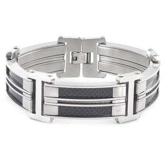 Crucible Stainless Steel Carbon Fiber and Cable Inlay Link Bracelet