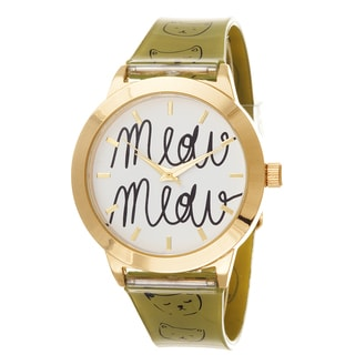 """FORTUNE NYC Women's Gold Case """"MEOW"""" Dial / Olive Rubber Strap Cat Watch"""