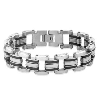 Crucible Stainless Steel Bicycle Style Link and Rubber Accents Chain Bracelet