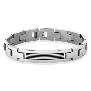 Crucible Stainless Steel Grooved ID Plate Link Chain Bracelet