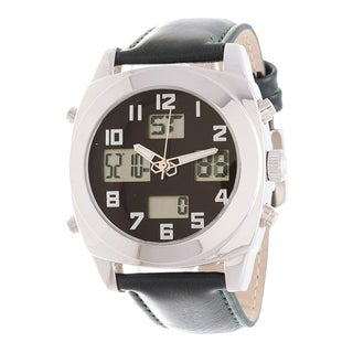 Fortune NYC Men's Silver Case / Green Leather Strap Analog Digital Watch