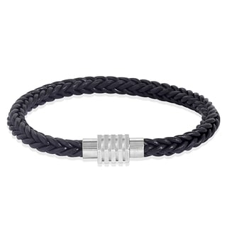 Men's Stainless Steel Fish Braid Rubber Bracelet