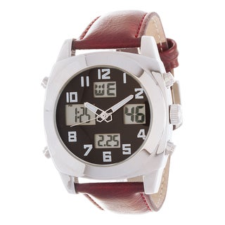 Fortune NYC Men's Silver Case / Burgundy Leather Strap Watch