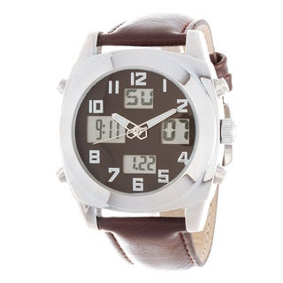 Fortune NYC Men's Silver Case / Brown Leather Strap Analog Digital Analog Digital Watch