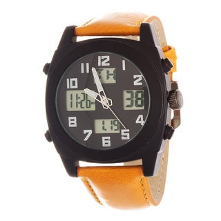 Fortune NYC Men's Black Case / Light Brown Leather Strap Analog Digital Watch