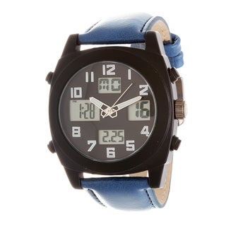 Fortune NYC Men's Black Case / Blue Leather Strap Analog Digital Watch