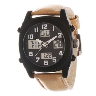Zunammy Men's Black Case / Beige Leather Strap Analog Digital Watch