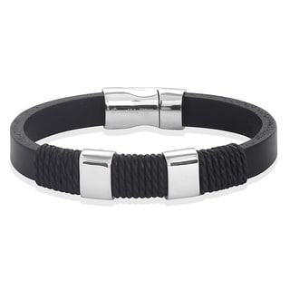 Crucible Stainless Steel Wrapped Twine and Silvertone Accents Black Leather Bracelet
