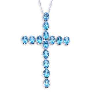 Sterling Silver Oval Azotic Neon Blue Topaz Cross Pendant Necklace